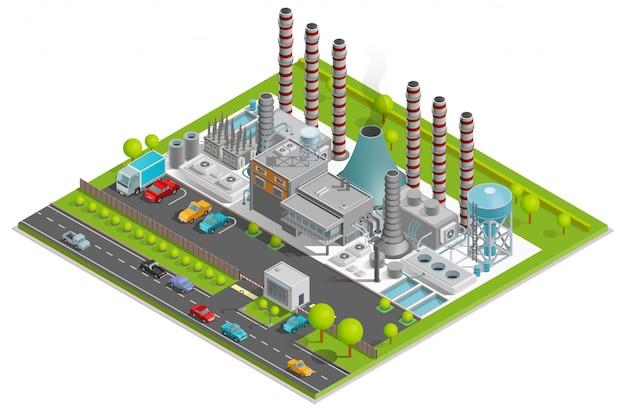 Ilustração isométrica de fábrica de produtos químicos