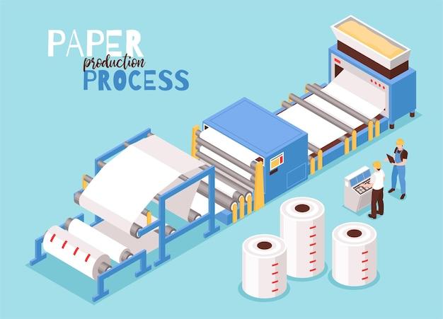 Ilustração isométrica de fabricação de papel