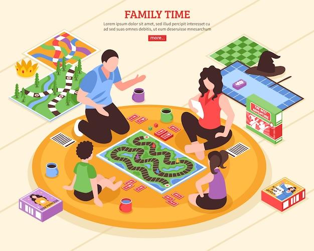 Ilustração isométrica de família de jogos de tabuleiro