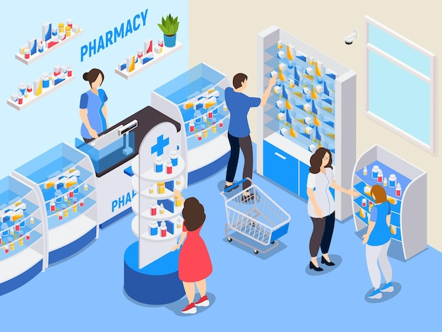 Ilustração isométrica de farmácia