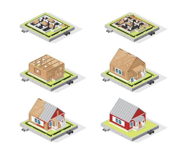 Ilustração isométrica de fases de construção de casas