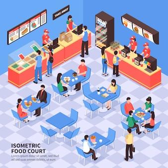 Ilustração isométrica de fast-food