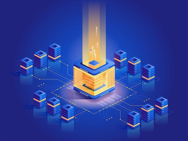 Ilustração isométrica de fazenda de mineração de criptomoeda. equipamentos de informática, arquitetura de servidores, e business. tecnologia blockchain, negócios modernos. dinheiro virtual, conceito azul escuro de moeda eletrônica