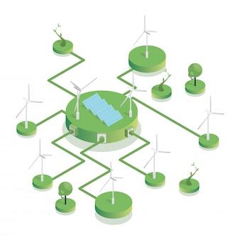 Ilustração isométrica de fazenda eólica amigável de eco. fontes de energia sustentáveis, turbinas eólicas e baterias fotovoltaicas que geram eletricidade. indústria de energia renovável, conceito de preservação da natureza