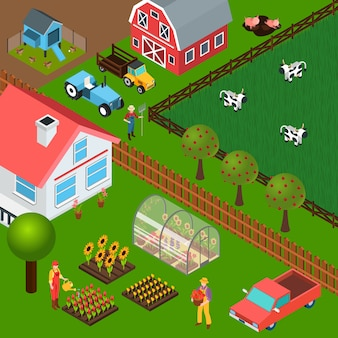 Ilustração isométrica de fazenda