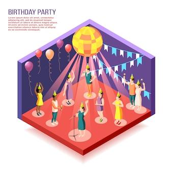 Ilustração isométrica de festa de aniversário com pessoas reunidas no salão decorado para comemorar o feriado