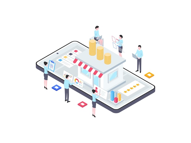 Ilustração isométrica de financiamento de negócios. adequado para aplicativo móvel, site, banner, diagramas, infográficos e outros ativos gráficos.