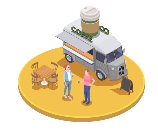 Ilustração isométrica de food truck