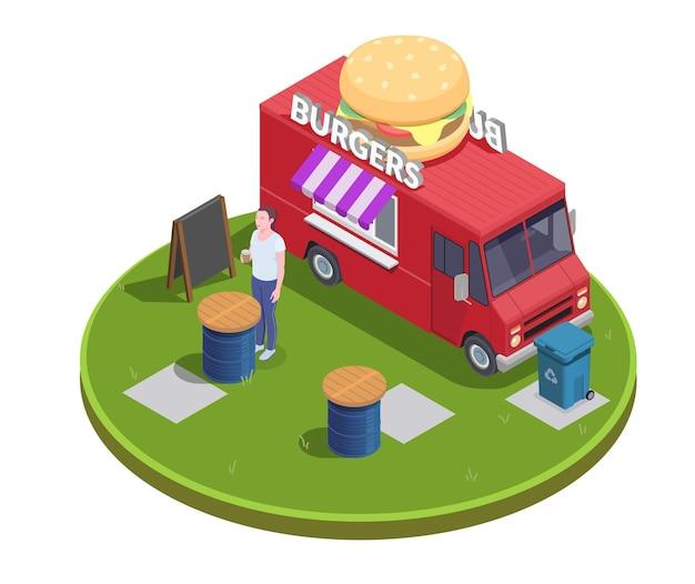 Ilustração isométrica de foodtruck