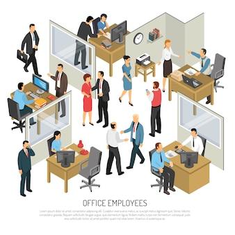 Ilustração isométrica de funcionários no escritório