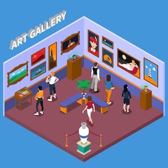 Ilustração isométrica de galeria de arte