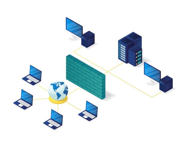 Ilustração isométrica de gerenciamento de rede de computador