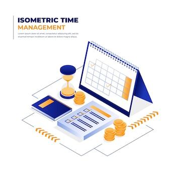 Ilustração isométrica de gerenciamento de tempo