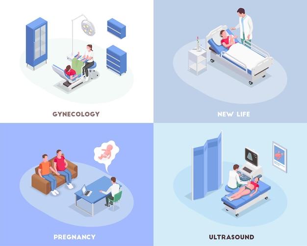 Ilustração isométrica de gravidez com ginecologista, consultando e examinando mulheres grávidas 3d isoladas
