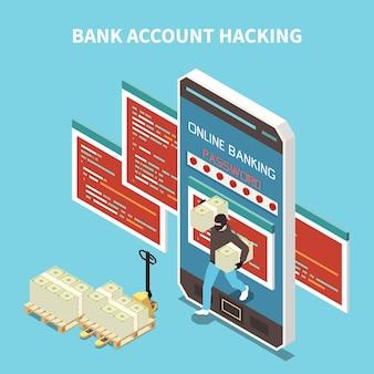 Ilustração isométrica de hackeamento de conta bancária