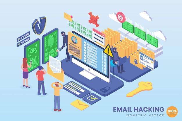 Ilustração isométrica de hackeamento de e-mail