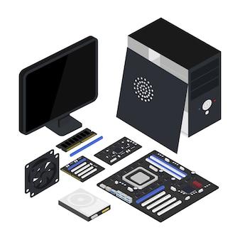 Ilustração isométrica de hardware de computador, processador, placa-mãe, disco rígido, clipart isolado de ventilador.