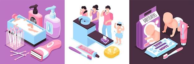 Ilustração isométrica de higiene pessoal e do bebê