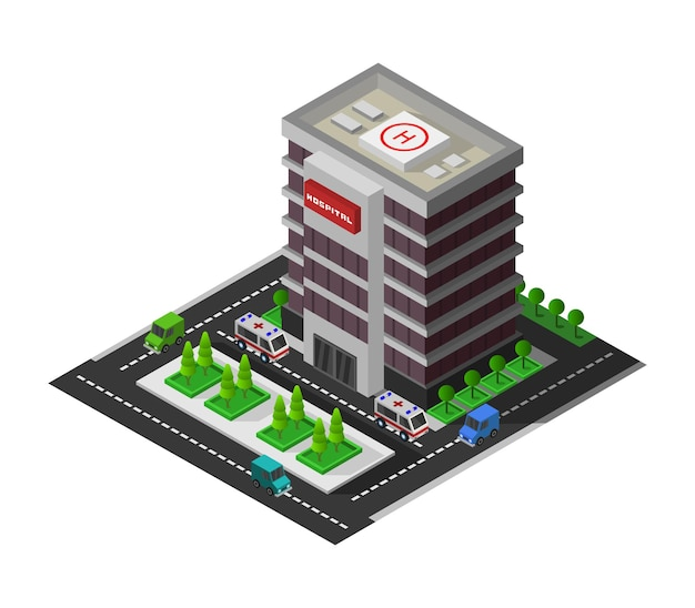 Ilustração isométrica de hospital