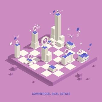 Ilustração isométrica de imóveis comerciais em tabuleiro de xadrez