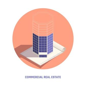 Ilustração isométrica de imóveis comerciais