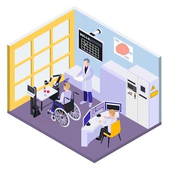 Ilustração isométrica de implante de chip cerebral para pacientes com deficiência