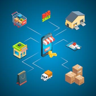 Ilustração isométrica de infográfico de ícones de envio e entrega