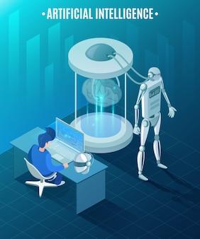 Ilustração isométrica de inteligência artificial