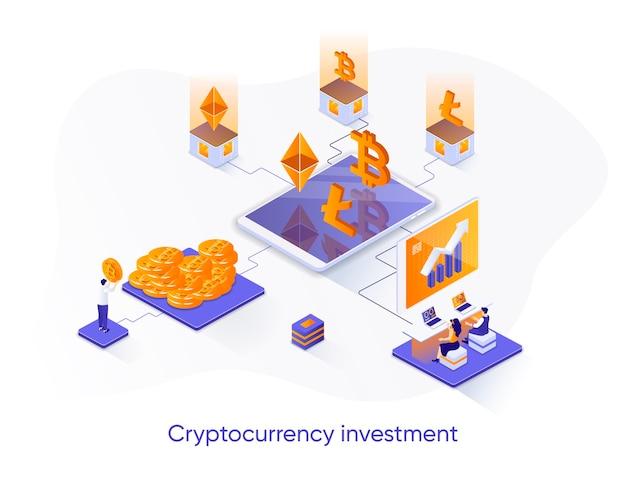 Ilustração isométrica de investimento em criptomoeda com personagens de pessoas