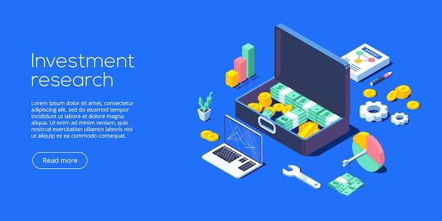 Ilustração isométrica de investimento empresarial