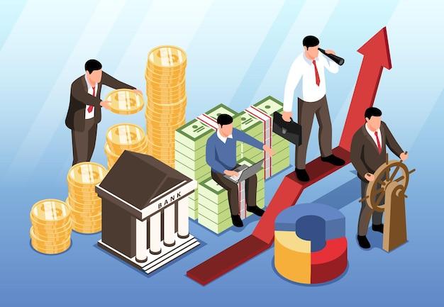 Ilustração isométrica de investimento
