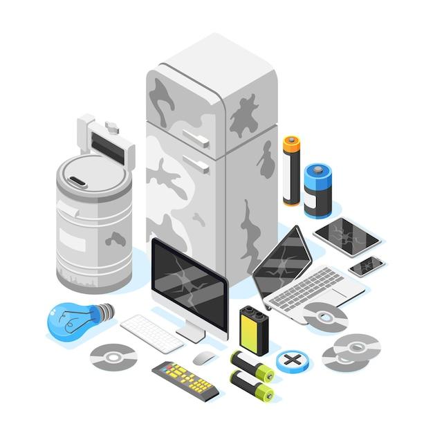 Ilustração isométrica de itens de lixo eletrônico