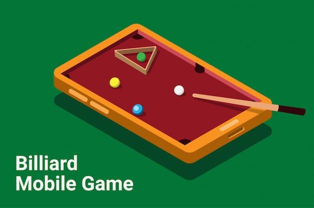 Ilustração isométrica de jogo de smartphone móvel de bilhar
