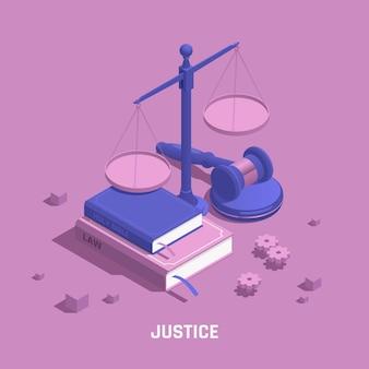 Ilustração isométrica de justiça