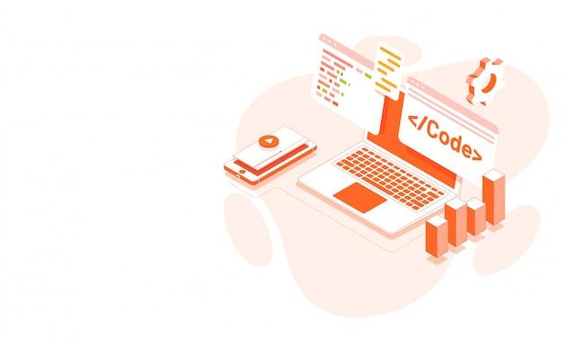 Ilustração isométrica de laptop