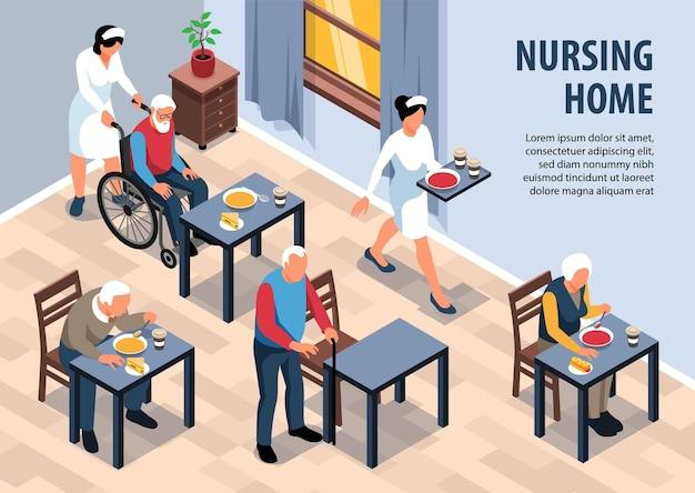 Ilustração isométrica de lar de idosos