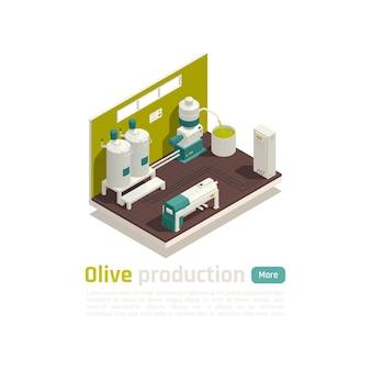 Ilustração isométrica de linha automatizada de instalação de produção de azeite de oliva