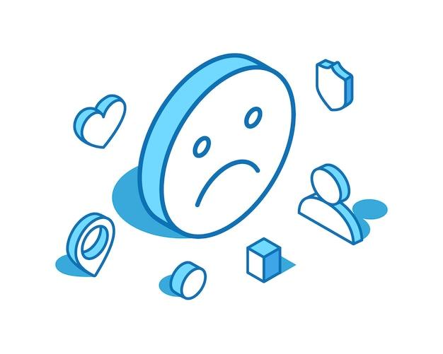 Ilustração isométrica de linha azul emoji infeliz