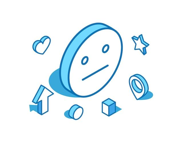 Ilustração isométrica de linha azul emoji sem emoção expressionless indiferente modelo de banner 3d