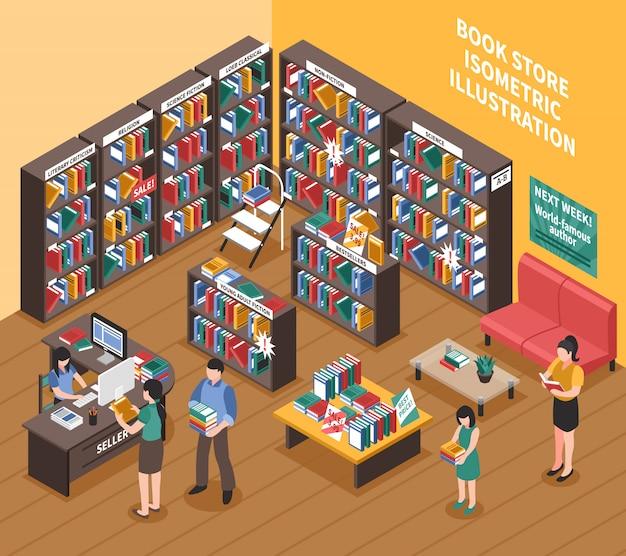 Ilustração isométrica de livraria