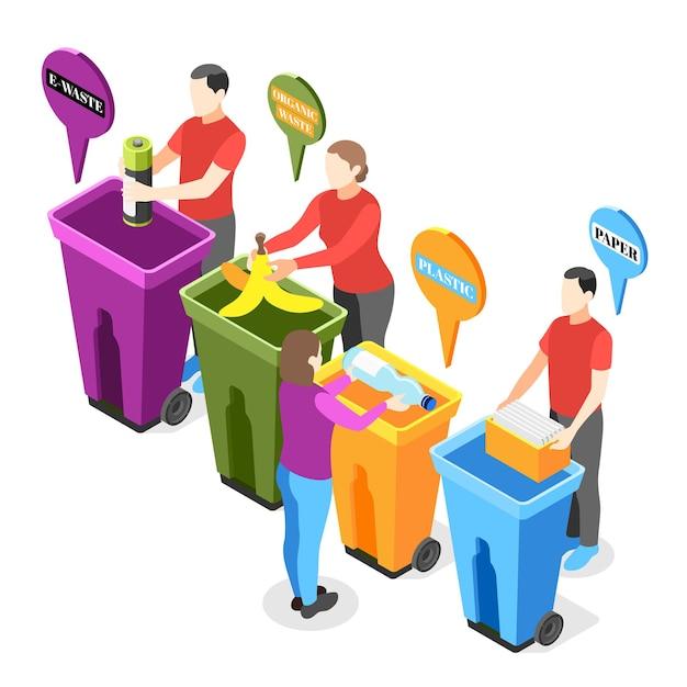 Ilustração isométrica de lixo eletrônico com personagens humanos colocando vários tipos de lixo em lixeiras separadas.