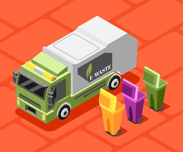 Ilustração isométrica de lixo eletrônico