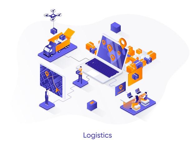 Ilustração isométrica de logística com personagens de pessoas
