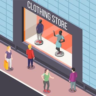 Ilustração isométrica de loja de roupas