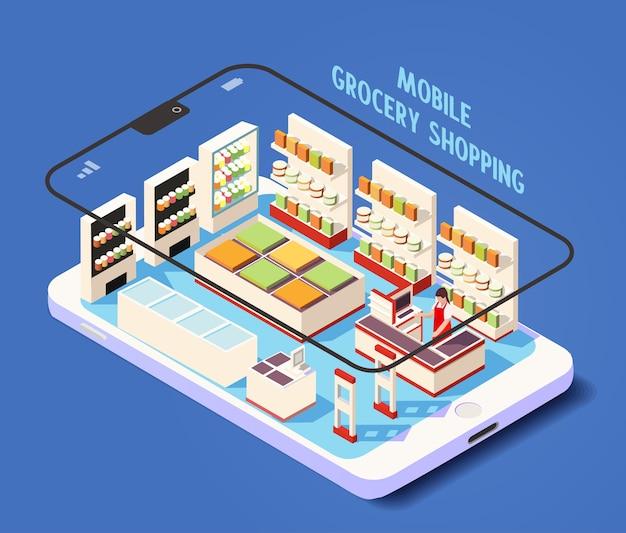Ilustração isométrica de loja on-line de compras de supermercado móvel