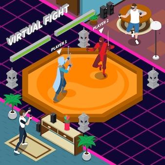 Ilustração isométrica de luta virtual