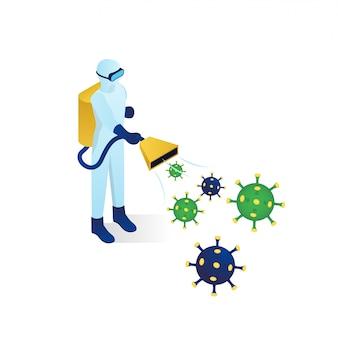 Ilustração isométrica de lutador de vírus de corona