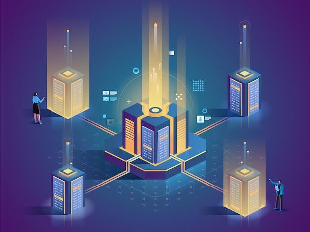 Ilustração isométrica de manutenção de servidor técnicos de data center engenheiros personagens de desenhos animados 3d