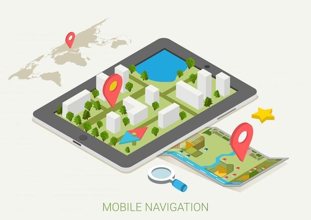 Ilustração isométrica de mapas de navegação gps móvel.
