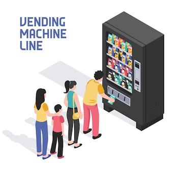 Ilustração isométrica de máquina de venda automática